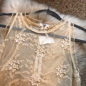 Sheer intricate formal blouse tank